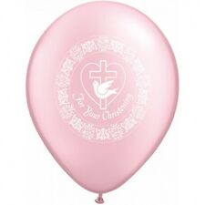 Party Supplies Baby Girl Christening Pink Dove Latex Balloons Pk 10