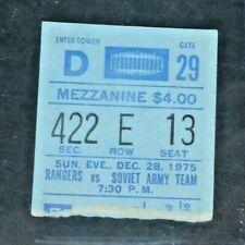 1975 Rangers vs Red Army Very Rare Hockey Ticket Stub