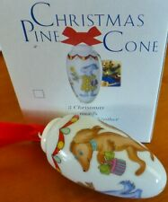 "Hutschenreuther ""Dogs"" Puppy dog Christmas Ornament Porcelain pine cone New/Nib"