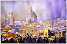 Florence, Duomo watercolor painting.  Fine art print of Florence, Italy
