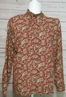 Jones New York Sport Woman Paisley Long Sleeve Mock Turtleneck Red Gold Size 1X