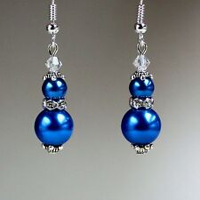 Dark blue pearls crystal vintage silver drop earrings wedding bridesmaid gift