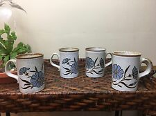 4 Stoneware Mugs Vintage Speckled with Blue Flowers Made in Scotland