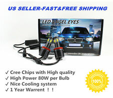 2X NEW CREE 80W H8 LED Angel Eyes Halo Ring Light Bulbs HID Xenon White For BMW