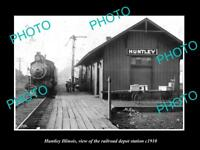 OLD LARGE HISTORIC PHOTO OF HUNTLEY ILLINOIS THE RAILROAD DEPOT STATION c1910