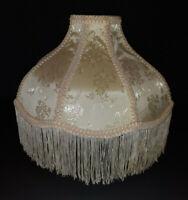"Vtg Victorian Lamp Shade 8 Panel Fringe brocade cream 11""Tx 3.75D x 12""D Scallop"