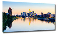 Leinwand Bild Frankfurt Skyline Sonnenuntergang Flößer Brücke Mainhattan Wasser