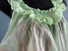Vintage Silky Nylon Chiffon Frilly Lace Sheer Nightie Nightgown Lingerie Size M