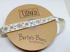 Berties Bows Cream Cotton Ribbon with Grey Snowflakes 15mm x 2m.