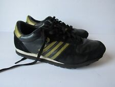 Vintage Adidas Originals Women Malibu Sneaker Shoes 9.5 Black Gold Stripes Rare