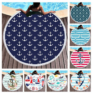 Nautical Sea Ship Rudder Anchor Flower Striped Zigzags Large Swim Beach Towel