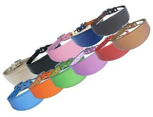 Plain Leather Whippet Collar Padded Suede Lined Greyhound Collars Dog Collars