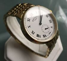Men's Genuine Rotary Canterbury Slim Classic Vintage Watch Gold White Roman