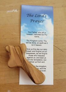 Wooden Comfort Holding Cross Approx 70mm height Authentic Holy Land Market