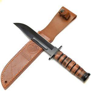 U.S army combat fixed blade knife USMC w sheath USA military marines corps style