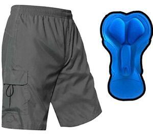 EZRUN Men's Gray Padded Mountain Bike Shorts Lightweight MTB Cycling Shorts XL