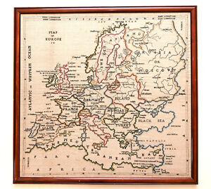 SUPERB ANTIQUE c1799 SILK LINEN EMBROIDERY MAP SAMPLER BRITISH NAVAL VICTORIES