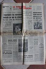 LA NOUVELLE REPUBLIQUE 12 DEC 1968 - JO MEXICO FERNANDEL AIRBUS