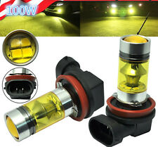 2x H11 H8 100W LED 4300K YELLOW 2323 Projector Fog Driving Light Bulbs