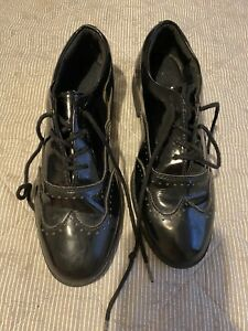 Girls Clarks Black School Shoes Brogues Size 2 1/2 F Patent Sami Walk Youth