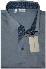 $850 NEW BRIONI BL-GRAY MERCERIZED PIQUE COTTON B LOGO SLIM FIT POLO SHIRT L/XL