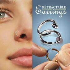 retractable spring loaded fake faux nose ring, septum, tragus, no hole piercing