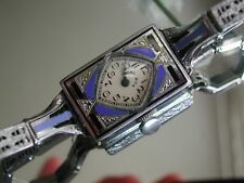1930's Ladies Art Deco Blue & Black Enamel Elgin Watch Enamel Filigree Band~Runs