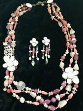 Philippe Ferrandis Rose Quartz & Crystal  Statement Necklace & Clip Earrings Set