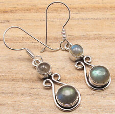 Blue Fired LABRADORITE 2 CABOCHON Stone FASHIONABLE Earrings ! 925 Silver Plated