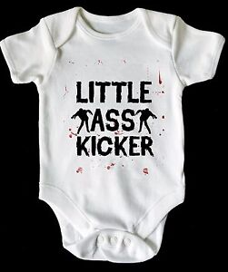 LITTLE ASS KICKER WALKING DEAD BABY VEST/ GROW WHITE AVAILABLE IN MOST SIZE
