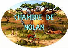 plaque de porte ovale chambre animaux afrique personnalisée prénom choix réf 198