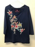 NWT Johnny Was JWLA Womens S Navy Blue Embroidered Cotton Shirt 3/4 Sleeve