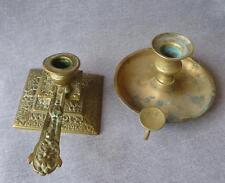 "2 antique ""rat de cave"" candlesticks lot made of bronze 19th century France"