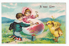 """Vintage Postcard """"A happy Easter"""" Girl and Boy with Oversized Egg and Chick"""