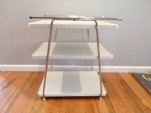Vintage Mid Century Modern Cosco Bar- Three Tier Kitchen Cart White Chrome