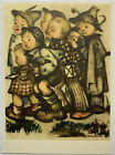 EARLY HUMMEL LITHOGRAPH ART LOTS OF KIDS WEARING DARK CLOTHING, SOME PATCHES