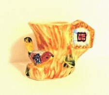 New listing Vtg Majolica Bird Cache Pot/Vase Made in Japan by Tree w Birdhouse