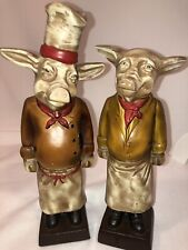 """Pig Chef Statues Waiter and Chef Heavy Resin 3+ lbs. Each  10-11"""" Each"""