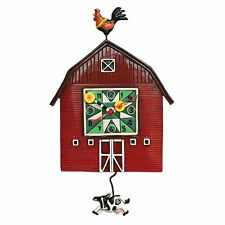 Allen Designs Red Barnyard Swinging Cow Pendulum Child Kids Whimsical Wall Clock