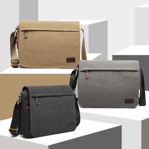 Men's Classic Expanding Messenger Bag School Handbag Canvas Shoulder Bag