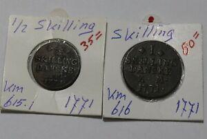 DENMARK 1/2 SKILLING 1771 + 1 SKILLING 1771 B38 CM3-11