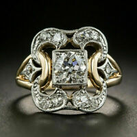Women Two Tone 925 Silver Rings White Sapphire Wedding Ring Jewelry Size 6-10