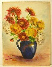Bouquet de fleurs, aquarelle still life flowers nature morte watercolor c1930