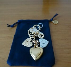 TORY BURCH MIXED-METAL HEART-FACE KEY RING, NWT