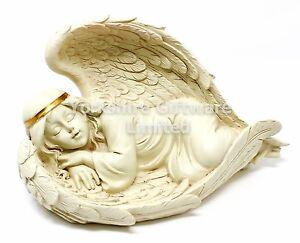 HEAVENLY REST Girl Asleep in Angel Wings Memorial Graveside Ornament NEW U1617E5
