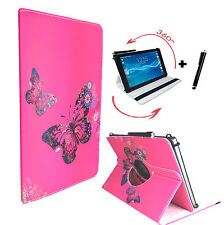 "Hülle Tasche Samsung Galaxy Tab 2 P5100 Tablet 360° Pink Schmetterling 10.1"""