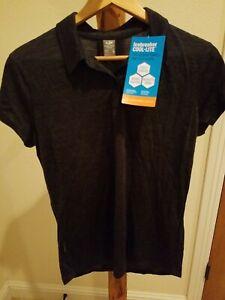 NWT Icebreaker Merino Wool Sphere Cool Lite Polo Shirt Large grey NEW hiking