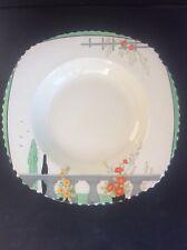 Burleigh Ware Riviera 1932 Art Deco Handpainted Pottery Lg Dessert Cereal Bowl