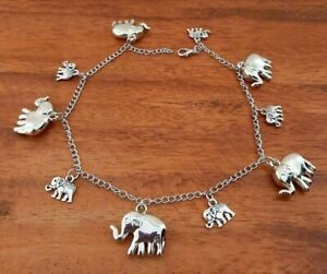Long Adjustable Anklet - Small + Large Double Sided Elephant Charms