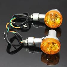 2x Chrome Universal Motorcycle Turn Signal Light Indicatior Lamp Amber Bulb 12V
